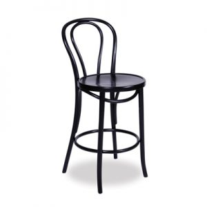 74cm Bentwood Stool with back - Black