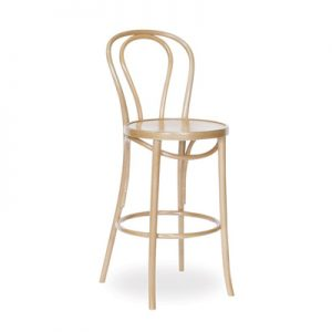 68cm Bentwood Stool with back - Natural